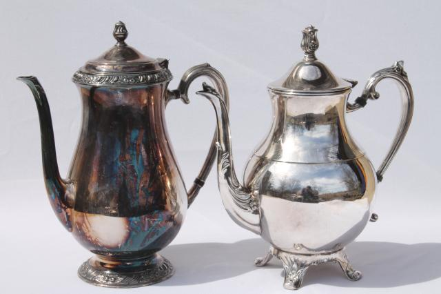 vintage-tarnished-silver-teapots-mismatched-silver-tea-pot-coffee-set-Laurel-Leaf-Farm-item-no-z33080-2