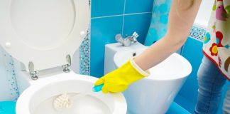 Scrubbing Toilet for Bathroom Spring Cleaning